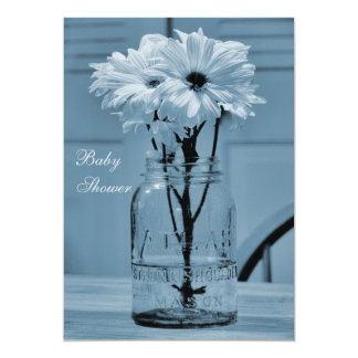 Beautiful Mason Jar & Daisies Blue Baby Shower Card