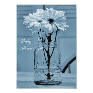 Beautiful Mason Jar & Daisies Blue Baby Shower 5x7 Paper Invitation Card
