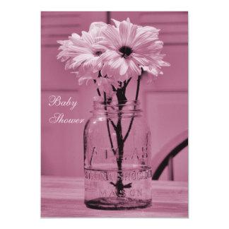 Beautiful Mason Jar & Daisies Pink Baby Shower 5x7 Paper Invitation Card