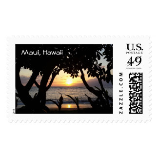 Beautiful Maui Hawaii Beach Sunset Stamp