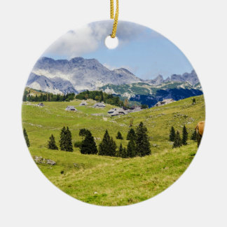 beautiful meadow landscape in New Zealand Round Ceramic Decoration