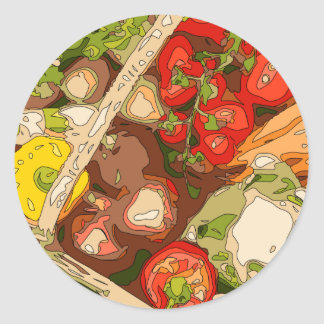 Beautiful Medley of Organic Fruits and Vegetables Classic Round Sticker