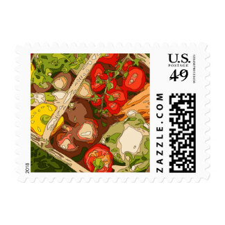 Beautiful Medley of Organic Fruits and Vegetables Stamp