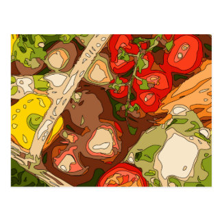 Beautiful Medley of Organic Fruits and Vegetables Post Cards