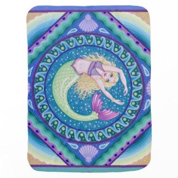 Beach Themed Beautiful mermaid baby blanket by Soozie Wray