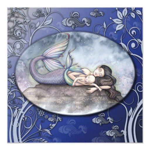 "Beautiful Mermaid Baby Shower Invitations 5.25"" Square Invitation Card"