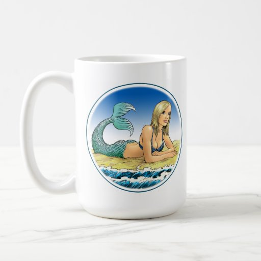 Beautiful mermaid by the sea coffee mug