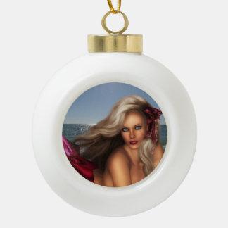 Beautiful Mermaid Ceramic Ball Christmas Ornament