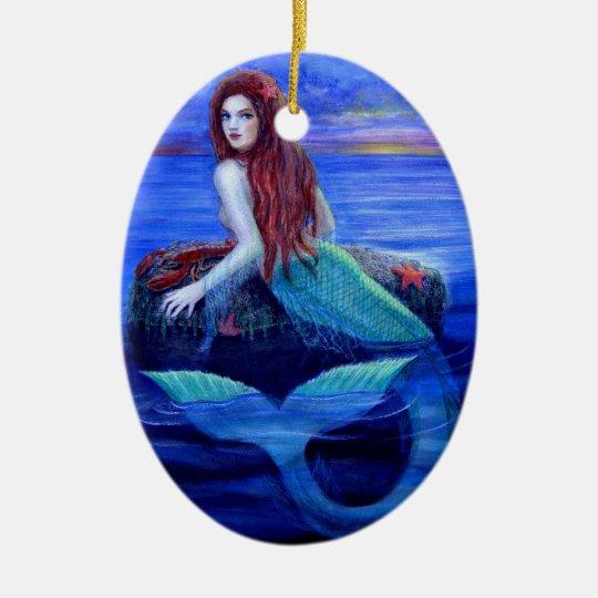 Beautiful Mermaid Fantasy Art Christmas Ornament