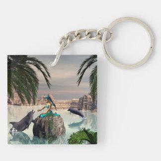 Beautiful mermaid Double-Sided square acrylic keychain