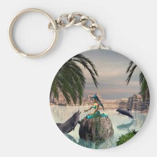 Beautiful mermaid basic round button keychain