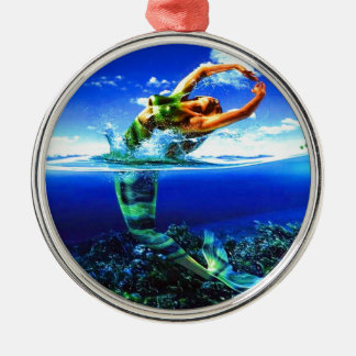 Beautiful Mermaid Paintings Metal Ornament