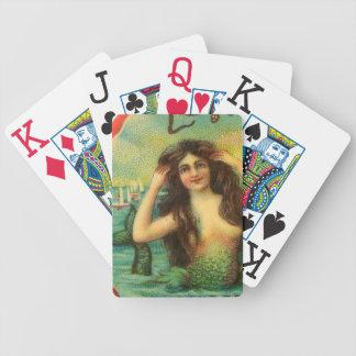 Beautiful Mermaid Vintage Art Bicycle Playing Cards
