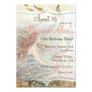 Beautiful Mermaid Vintage Sweet 16 Birthday Invite