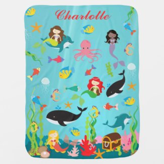 Beautiful Mermaids & Sea Life Custom Name Receiving Blanket