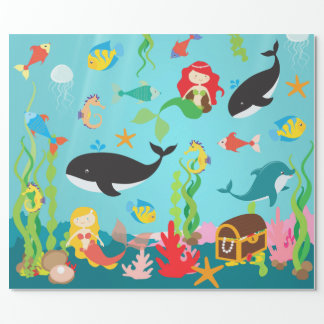 Beautiful Mermaids & Sea Life (Med./Lg. Image) Wrapping Paper