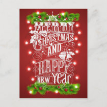 Beautiful Merry Christmas & New Year Typography Holiday Postcard