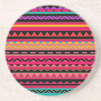 Beautiful Mexican Aztec Colorful Pattern Drink Coaster