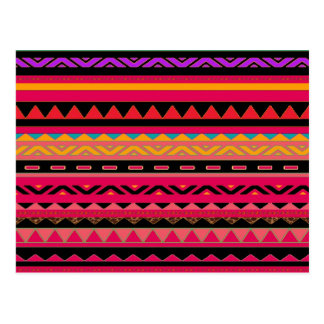 Beautiful Mexican Aztec Colorful Pattern Postcard