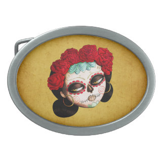 Beautiful Mexican Catrina Oval Belt Buckles