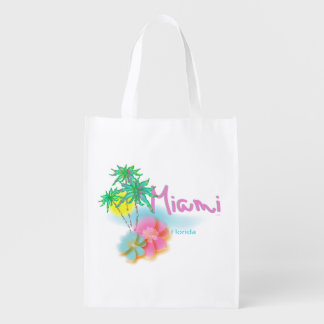 Beautiful Miami Florida Reusable Bag Reusable Grocery Bags