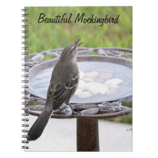 Beautiful Mockingbird Birdbath Notebook