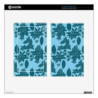 Beautiful modern floral line blue pattern kindle fire skin
