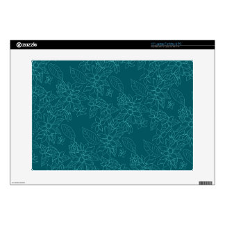 "Beautiful modern line floral pattern decals for 15"" laptops"