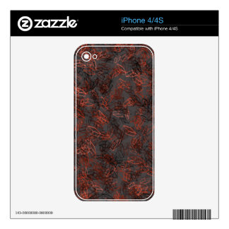 Beautiful, Modern Red and Black Square Pattern iPhone 4 Decals