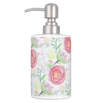 Beautiful Modern Watercolor Floral Pattern Bath Set