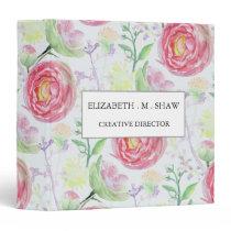 Beautiful Modern Watercolor Floral Pattern Binder