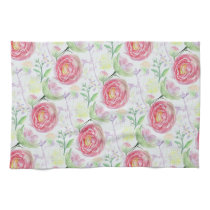 Beautiful Modern Watercolor Floral Pattern Kitchen Towel