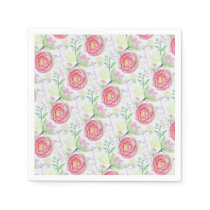 Beautiful Modern Watercolor Floral Pattern Paper Napkin