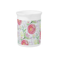 Beautiful Modern Watercolor Floral Pattern Pitcher