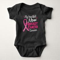 Beautiful Mom Breast Cancer Survivor Daughter Son Baby Bodysuit