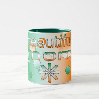 Beautiful Mom Ireland Flag Colors Pop Art Two-Tone Coffee Mug