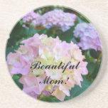 Beautiful Mom! sandstone coaster Pink Hydrangeas