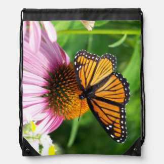 Beautiful Monarch Butterfly on Coneflower Drawstring Bag