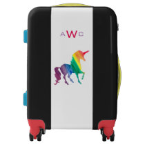 Beautiful Monogrammed Watercolor Rainbow Unicorn Luggage