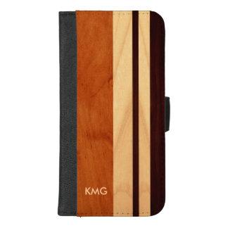 Beautiful Monogrammed Wood Stripes iPhone 8/7 Plus Wallet Case