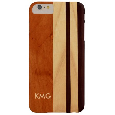 Beautiful Monogrammed Wood Stripes Pattern Barely There iPhone 6 Plus Case