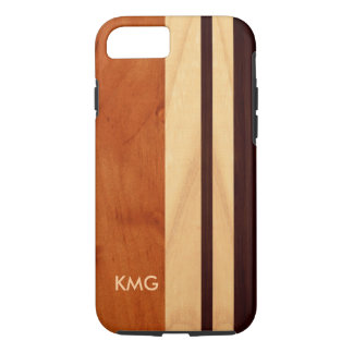 Beautiful Monogrammed Wood Stripes Pattern iPhone 7 Case