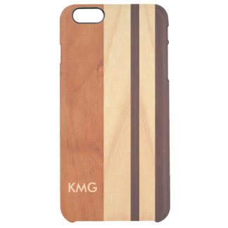 Beautiful Monogrammed Wood Stripes Pattern Uncommon Clearly™ Deflector iPhone 6 Plus Case