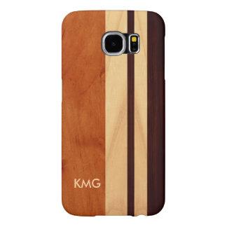 Beautiful Monogrammed Wood Stripes Pattern Samsung Galaxy S6 Case