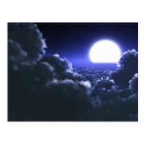 Beautiful moon night scenery postcard