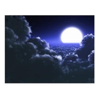 Beautiful moon night scenery postcard