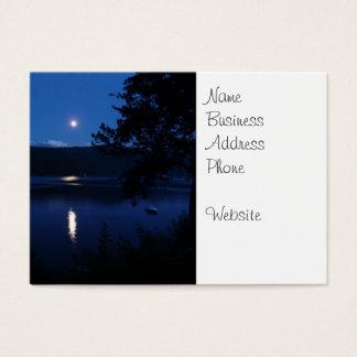 Beautiful Moon Rise Reflecting off Lake Water Business Card