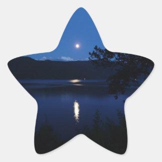 Beautiful Moon Rise Reflecting off Lake Water Star Sticker