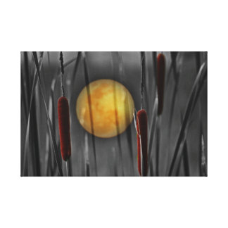 Beautiful moon with bamboo and reeds canvas print