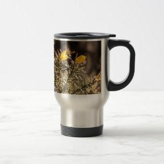 beautiful moorland gorse flower travel mug